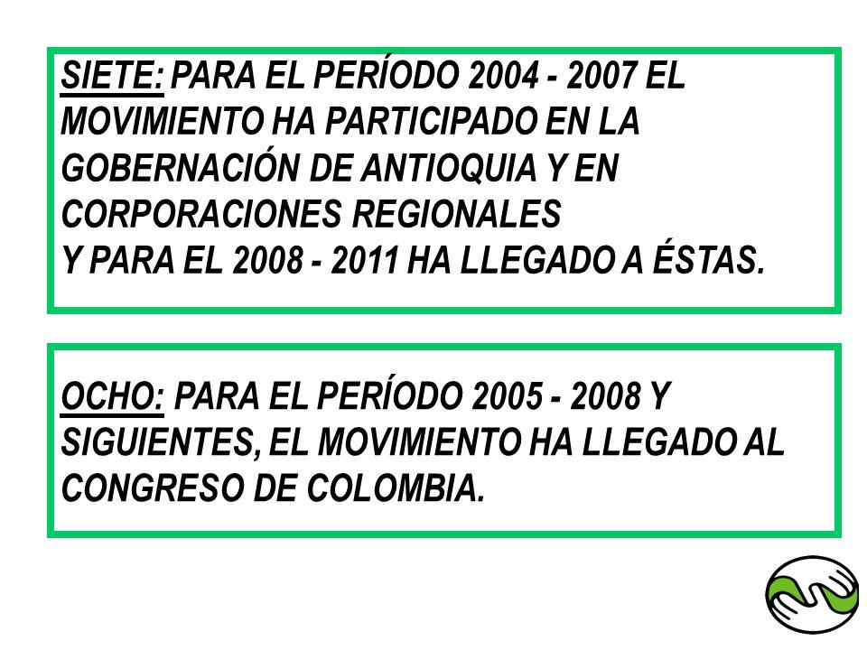 SIETE: PARA EL PERÍODO 2004 - 2007 EL