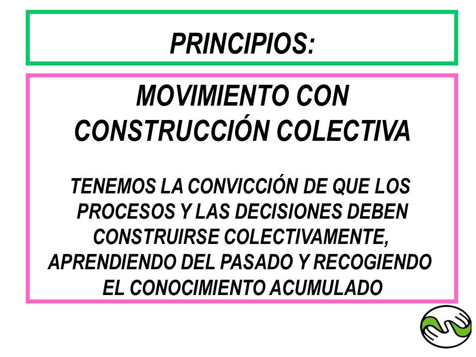 PRINCIPIOS: MOVIMIENTO CON CONSTRUCCIÓN COLECTIVA