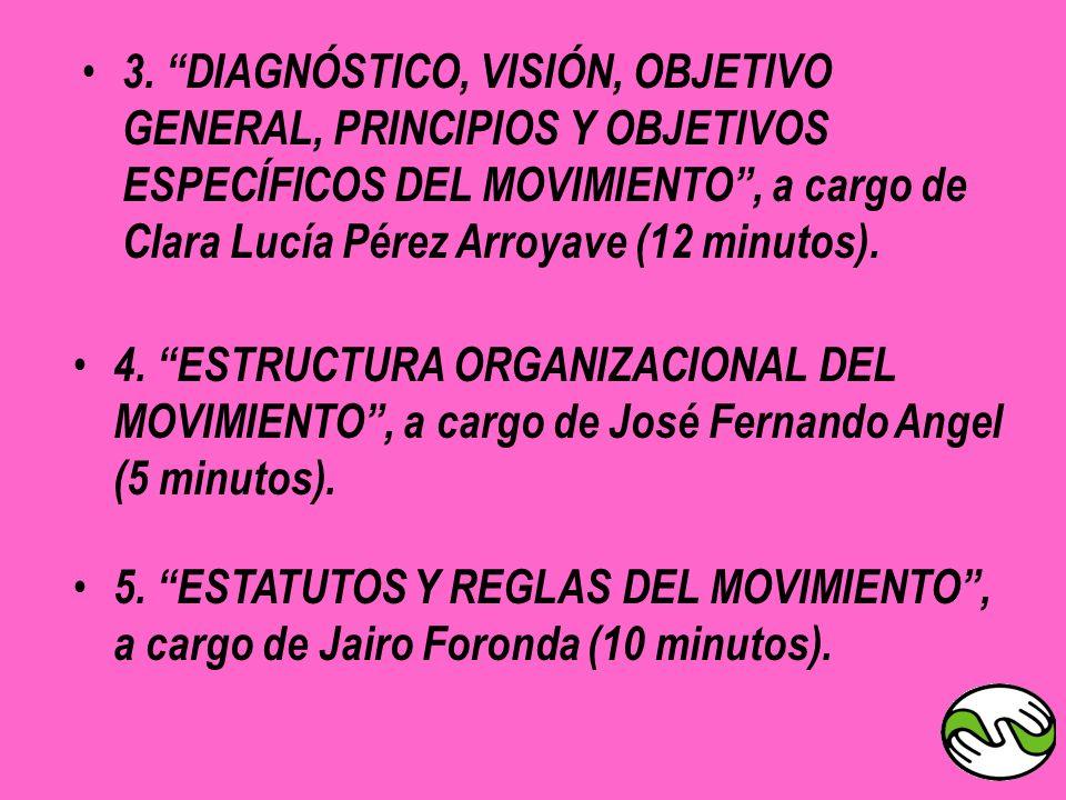 3. DIAGNÓSTICO, VISIÓN, OBJETIVO GENERAL, PRINCIPIOS Y OBJETIVOS ESPECÍFICOS DEL MOVIMIENTO , a cargo de Clara Lucía Pérez Arroyave (12 minutos).