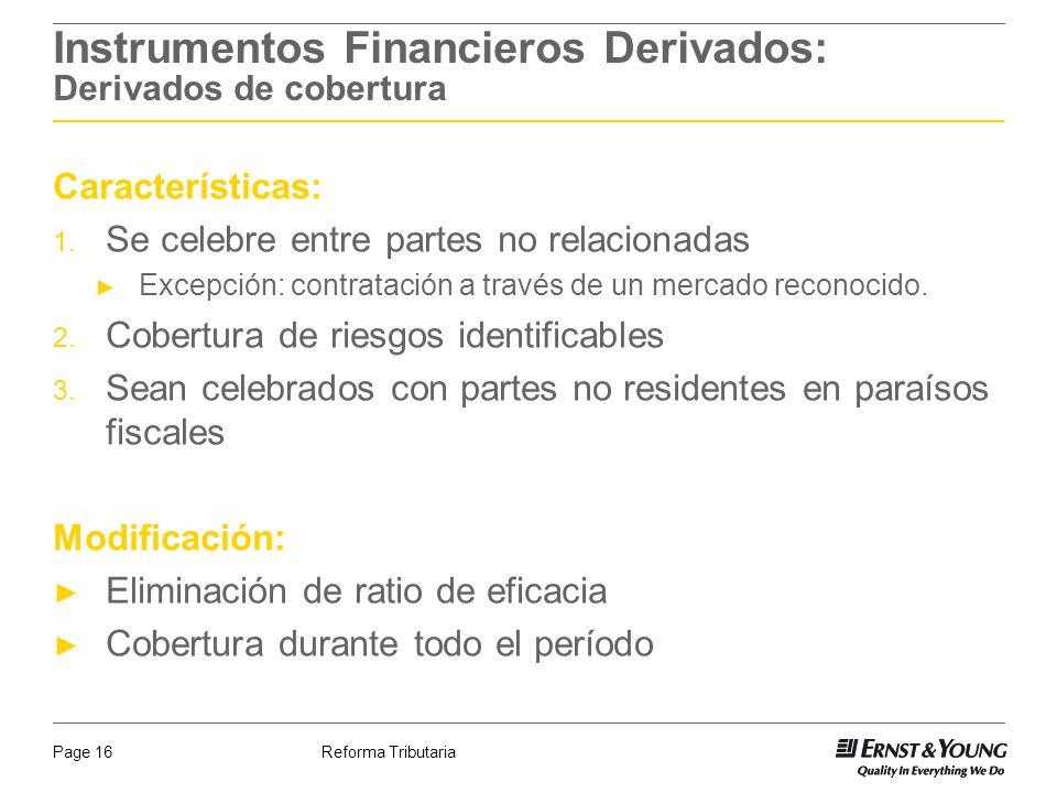 Instrumentos Financieros Derivados: Derivados de cobertura