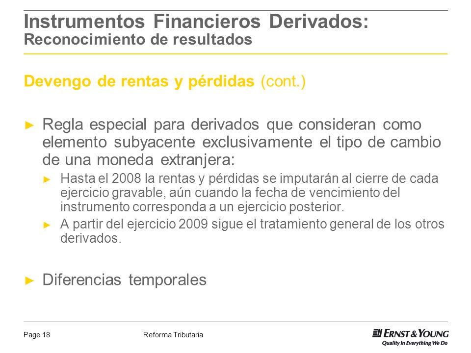 Instrumentos Financieros Derivados: Reconocimiento de resultados