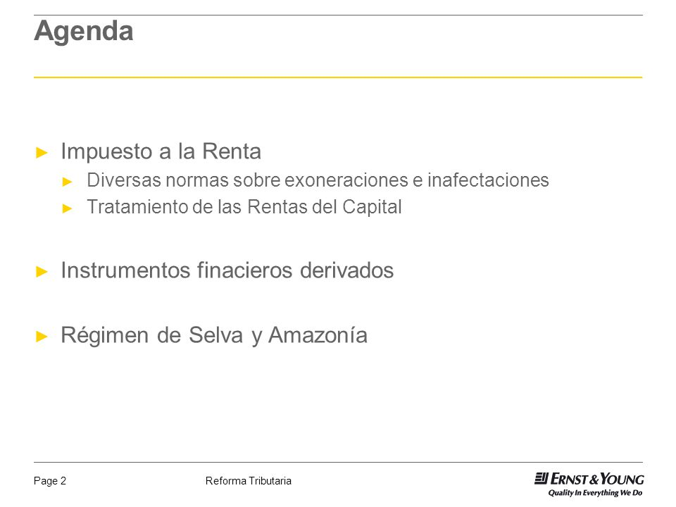 Agenda Impuesto a la Renta Instrumentos finacieros derivados