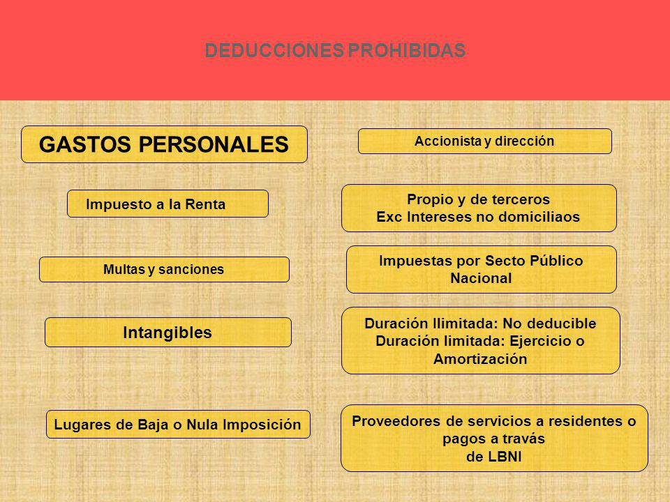 GASTOS PERSONALES DEDUCCIONES PROHIBIDAS Intangibles
