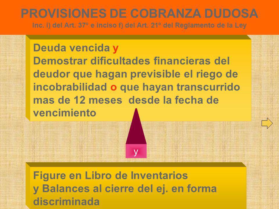 PROVISIONES DE COBRANZA DUDOSA