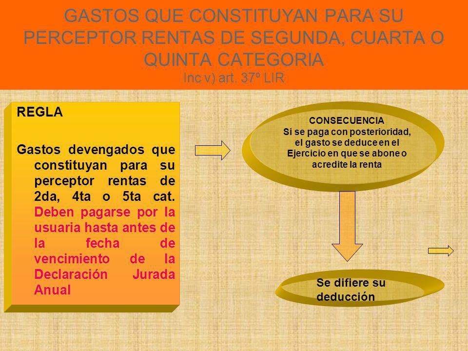 GASTOS QUE CONSTITUYAN PARA SU PERCEPTOR RENTAS DE SEGUNDA, CUARTA O QUINTA CATEGORIA Inc v) art. 37º LIR