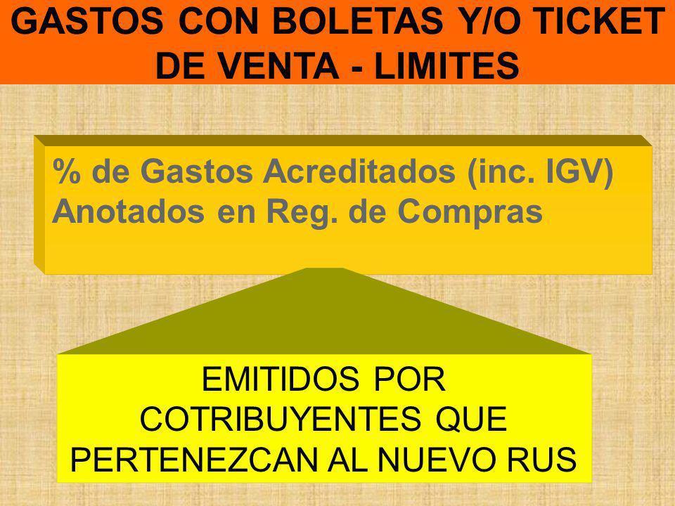 GASTOS CON BOLETAS Y/O TICKET