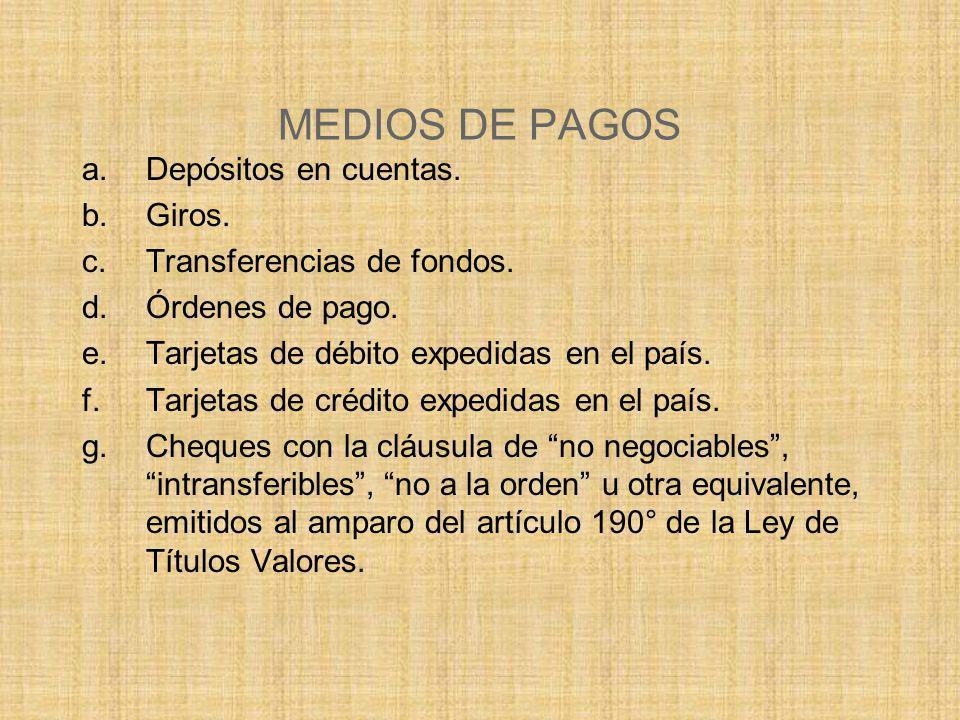 MEDIOS DE PAGOS Depósitos en cuentas. Giros. Transferencias de fondos.