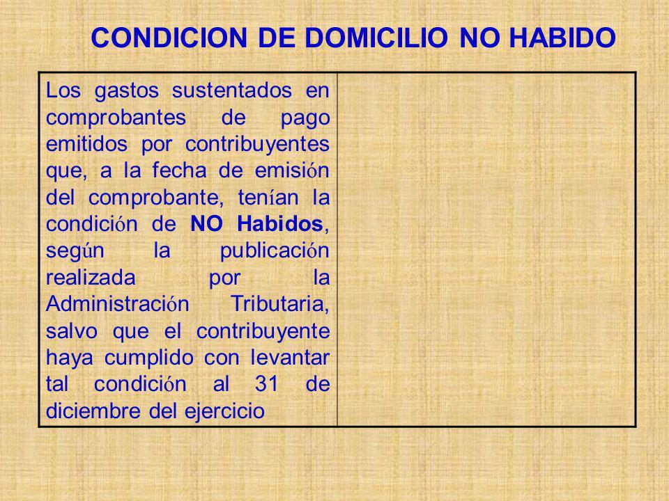 CONDICION DE DOMICILIO NO HABIDO