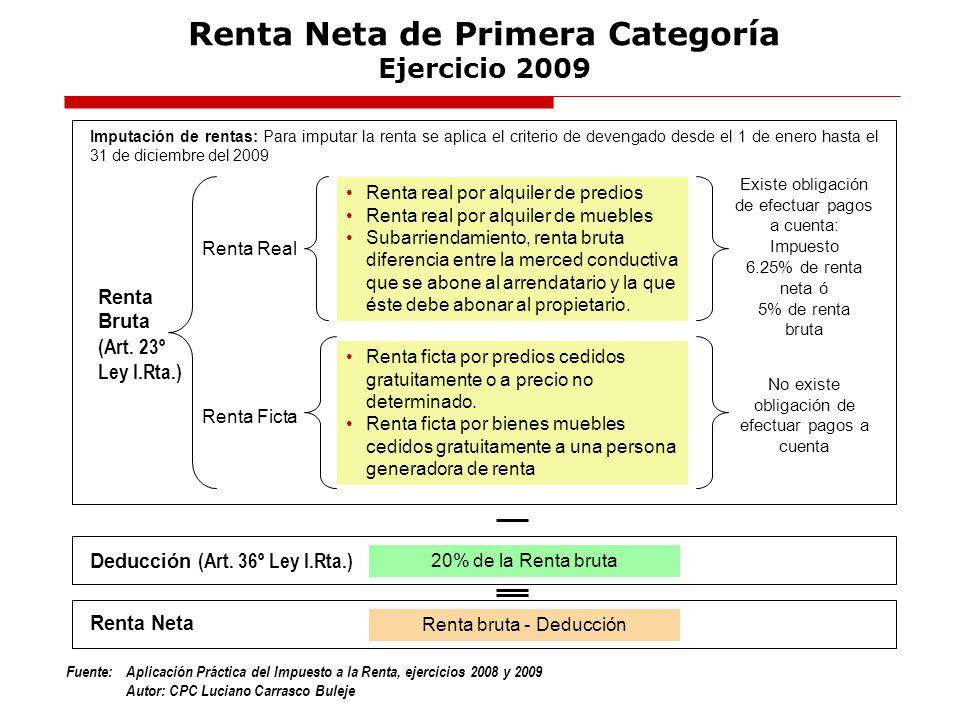 Renta Neta de Primera Categoría Ejercicio 2009