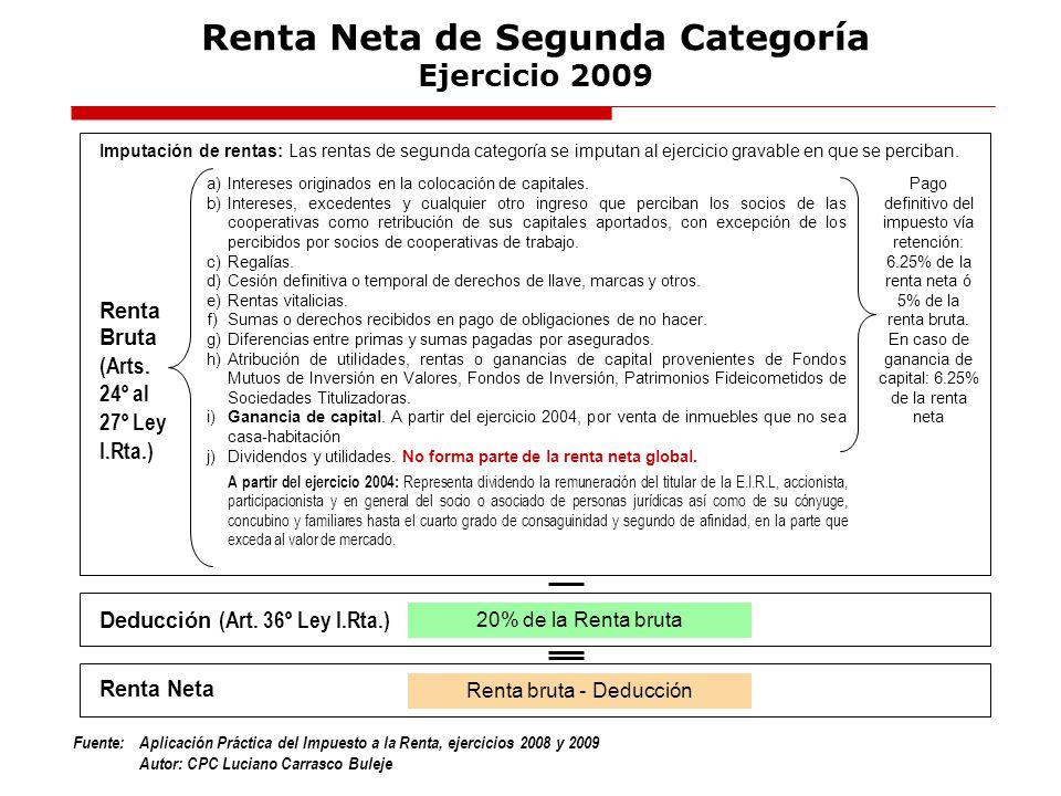 Renta Neta de Segunda Categoría Ejercicio 2009