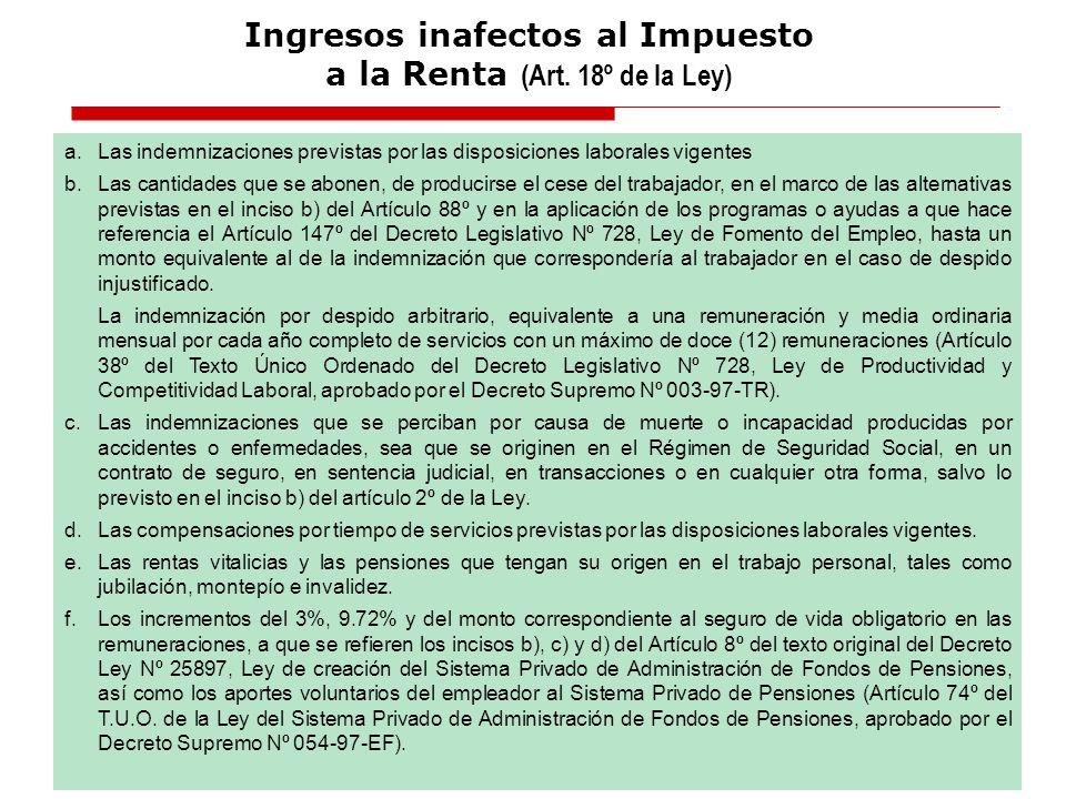 Ingresos inafectos al Impuesto a la Renta (Art. 18º de la Ley)