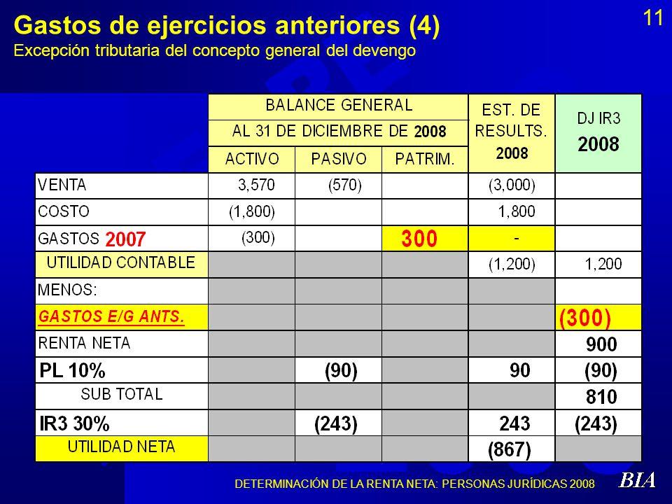 Gastos de ejercicios anteriores (4) Excepción tributaria del concepto general del devengo