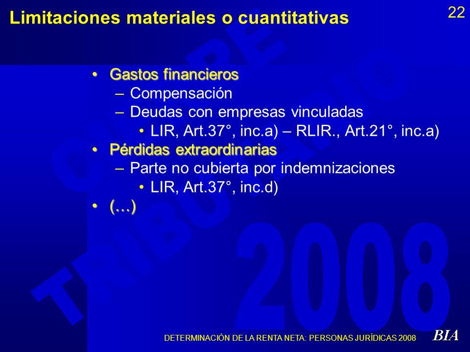 Limitaciones materiales o cuantitativas