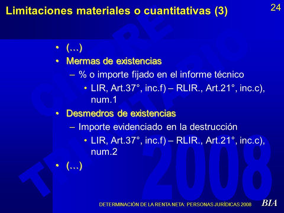 Limitaciones materiales o cuantitativas (3)
