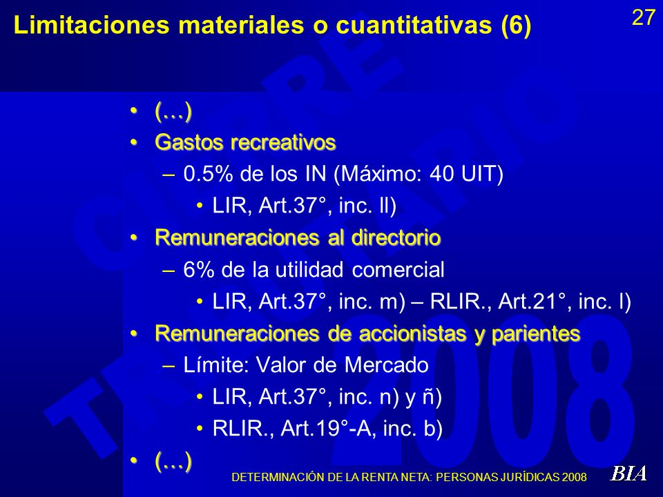 Limitaciones materiales o cuantitativas (6)