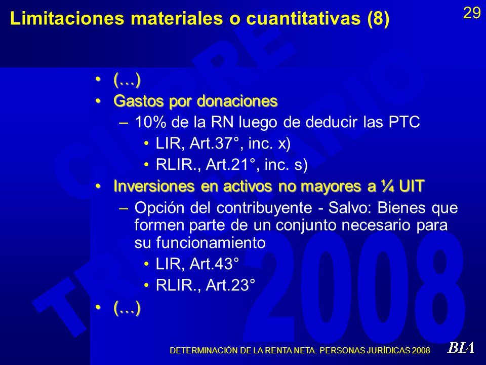 Limitaciones materiales o cuantitativas (8)