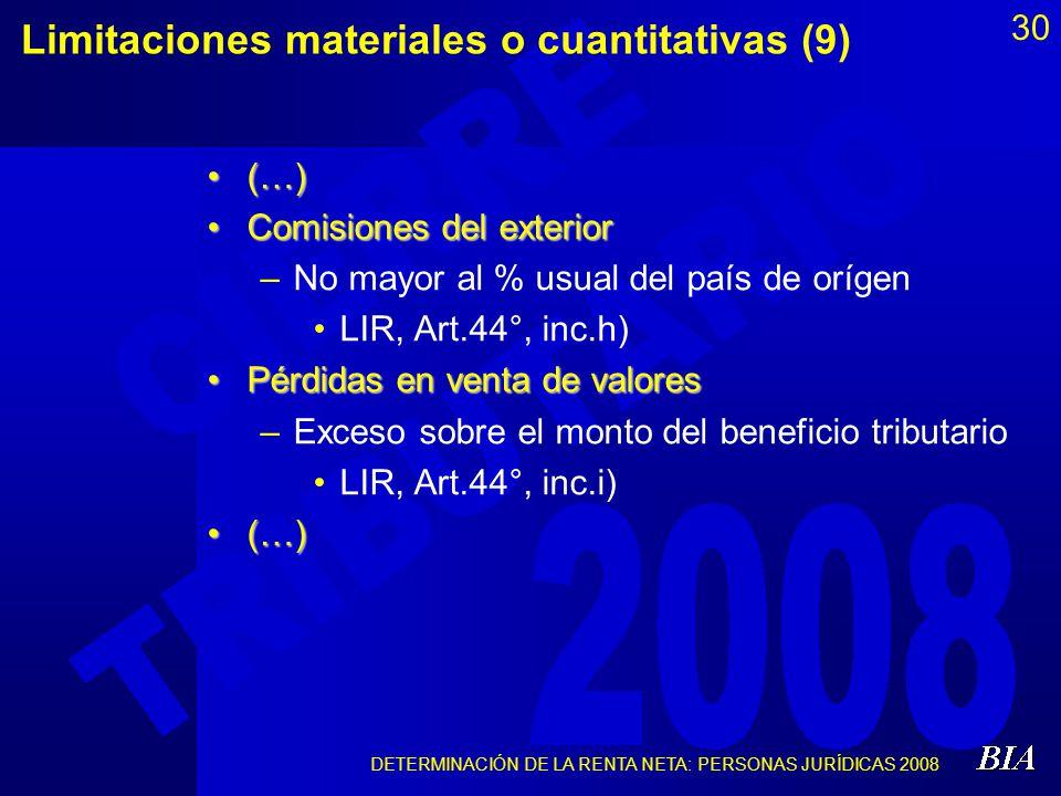 Limitaciones materiales o cuantitativas (9)