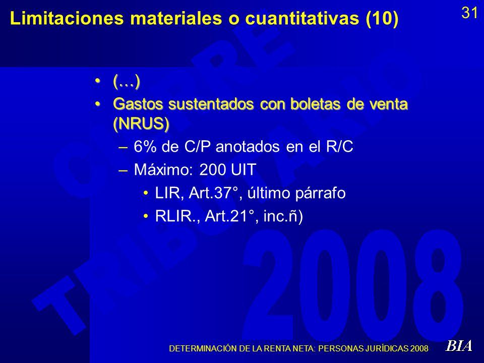 Limitaciones materiales o cuantitativas (10)
