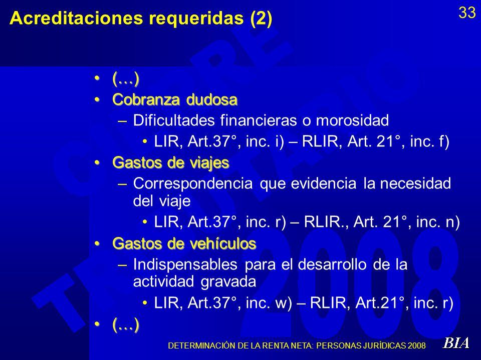 Acreditaciones requeridas (2)