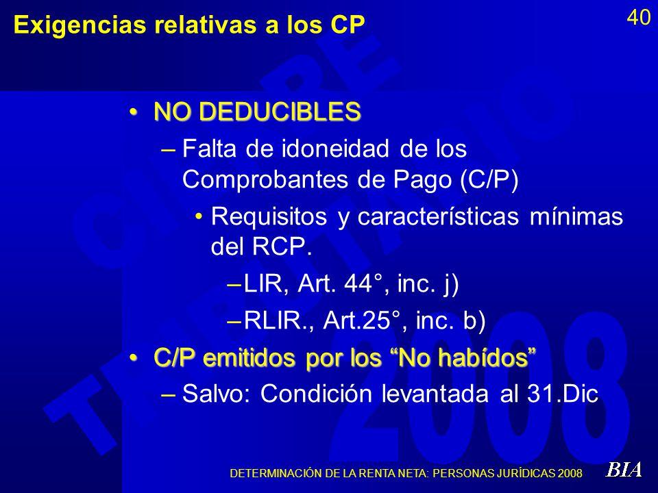 Exigencias relativas a los CP