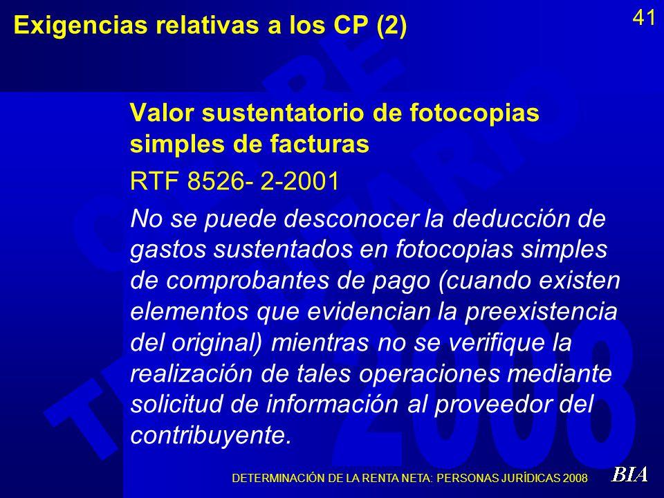 Exigencias relativas a los CP (2)