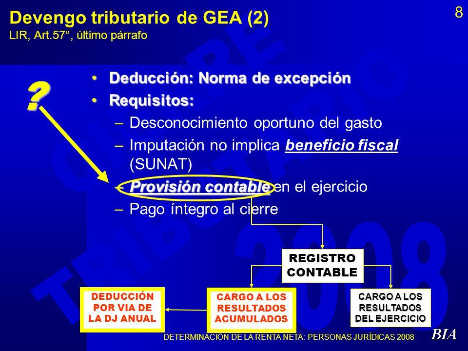 Devengo tributario de GEA (2) LIR, Art.57°, último párrafo