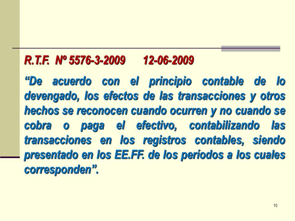R.T.F. Nº 5576-3-2009 12-06-2009