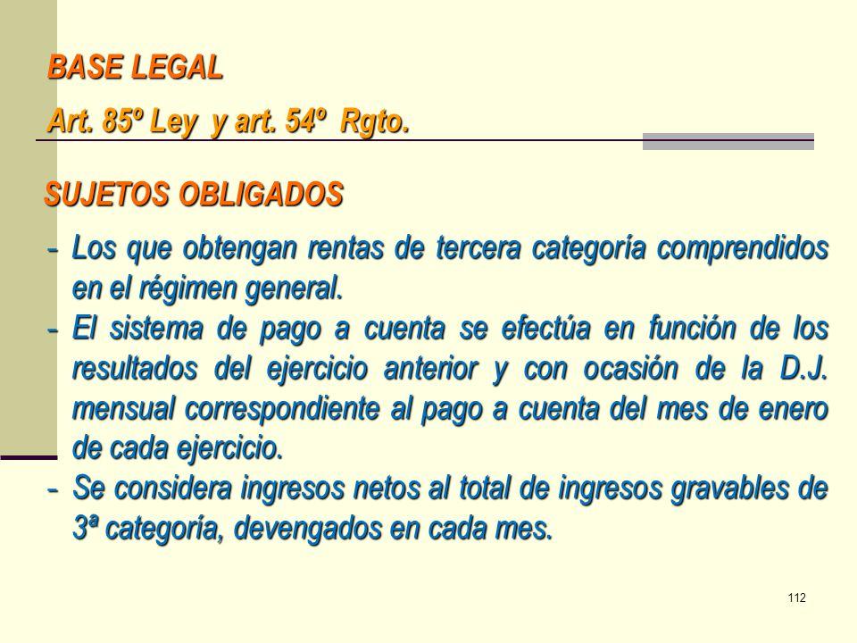 BASE LEGAL Art. 85º Ley y art. 54º Rgto. SUJETOS OBLIGADOS. Los que obtengan rentas de tercera categoría comprendidos en el régimen general.