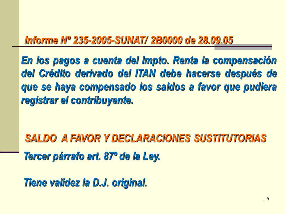 Informe Nº 235-2005-SUNAT/ 2B0000 de 28.09.05