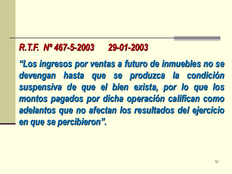 R.T.F. Nº 467-5-2003 29-01-2003
