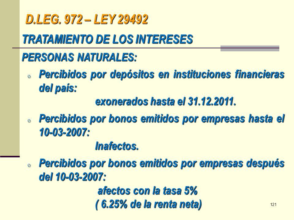 D.LEG. 972 – LEY 29492 TRATAMIENTO DE LOS INTERESES