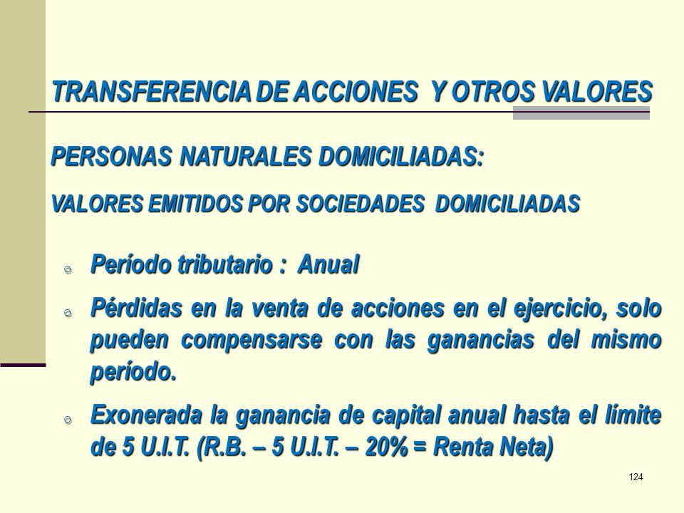 TRANSFERENCIA DE ACCIONES Y OTROS VALORES
