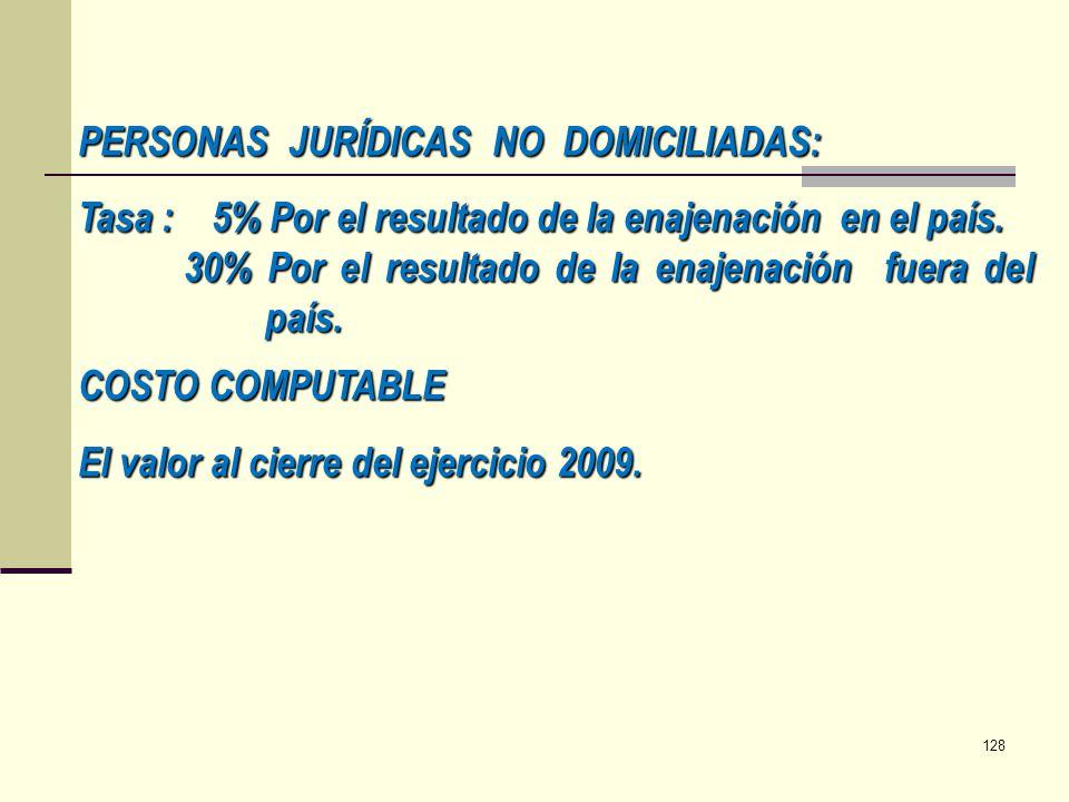 PERSONAS JURÍDICAS NO DOMICILIADAS: