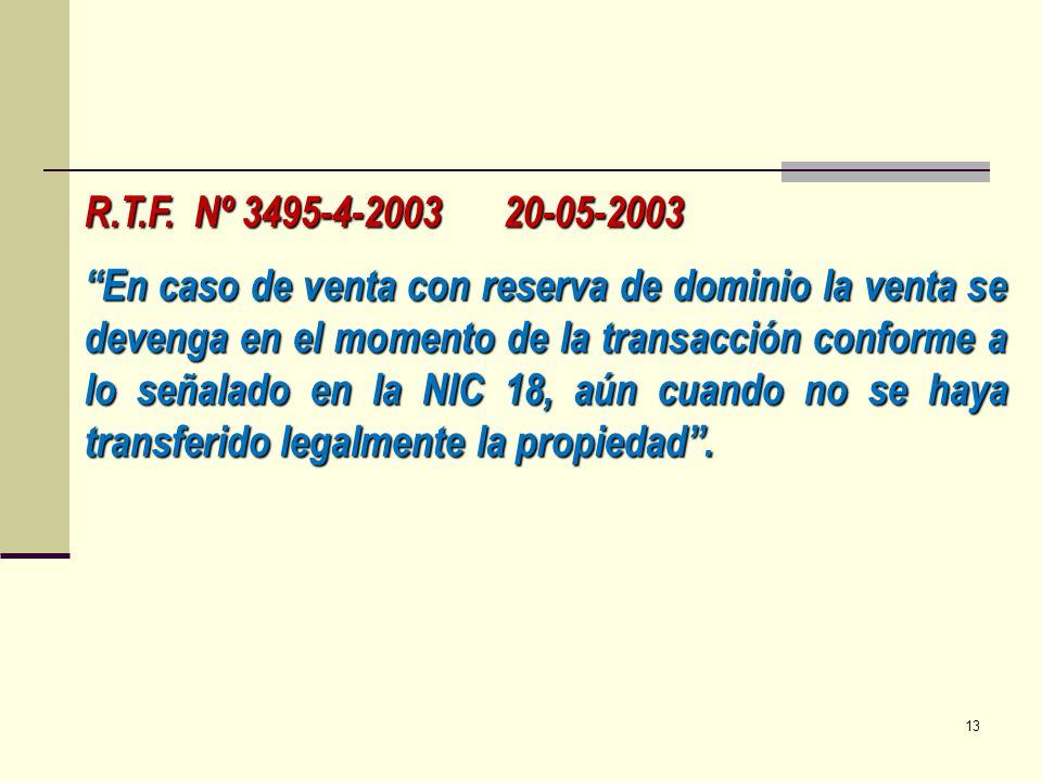 R.T.F. Nº 3495-4-2003 20-05-2003