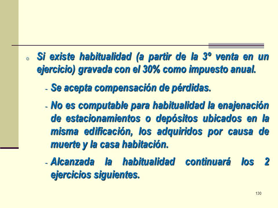 Si existe habitualidad (a partir de la 3º venta en un ejercicio) gravada con el 30% como impuesto anual.