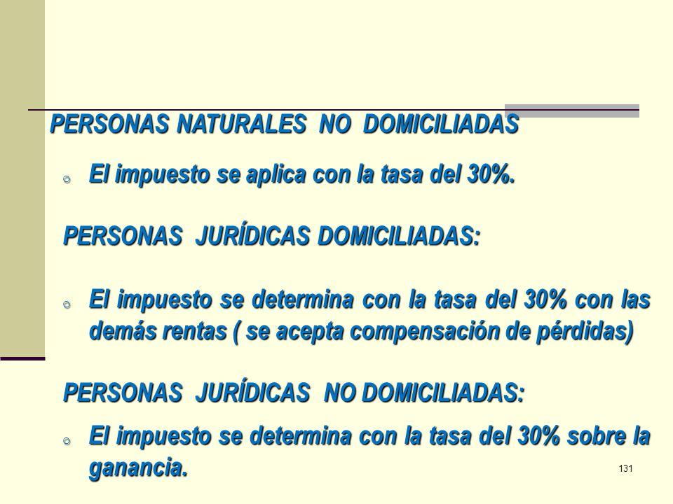 PERSONAS NATURALES NO DOMICILIADAS