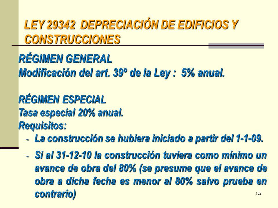LEY 29342 DEPRECIACIÓN DE EDIFICIOS Y CONSTRUCCIONES