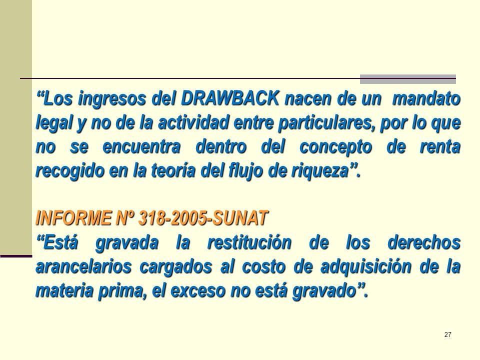 Los ingresos del DRAWBACK nacen de un mandato legal y no de la actividad entre particulares, por lo que no se encuentra dentro del concepto de renta recogido en la teoría del flujo de riqueza .
