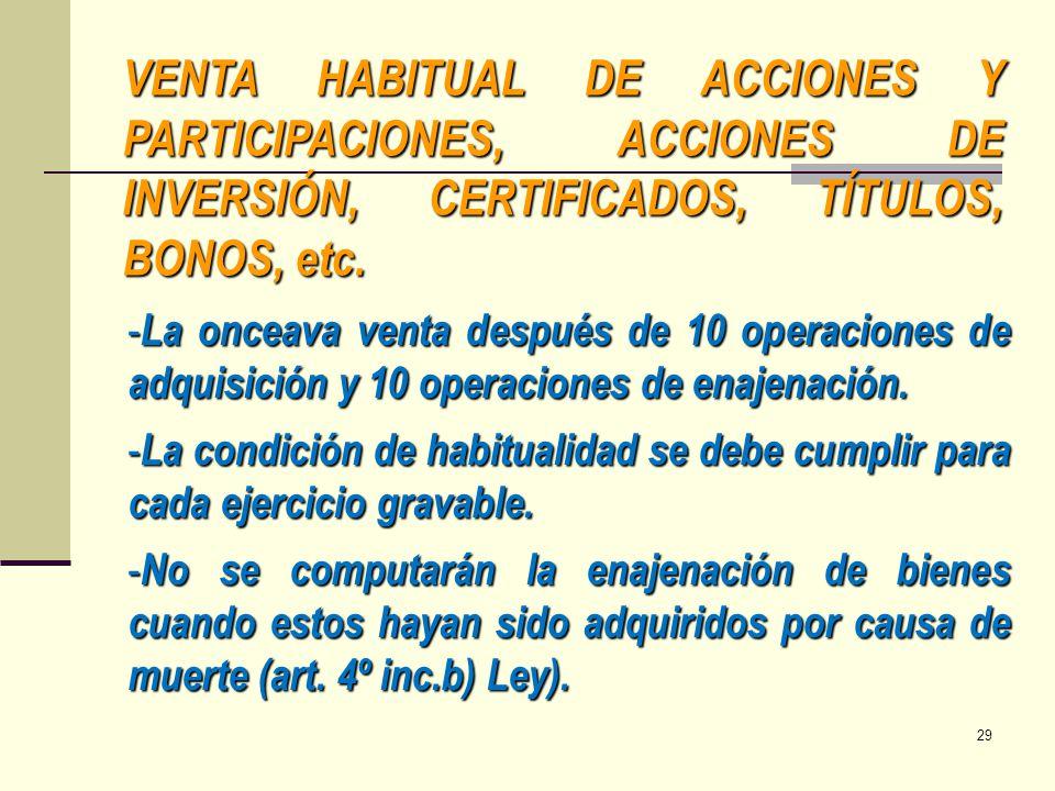 VENTA HABITUAL DE ACCIONES Y PARTICIPACIONES, ACCIONES DE INVERSIÓN, CERTIFICADOS, TÍTULOS, BONOS, etc.