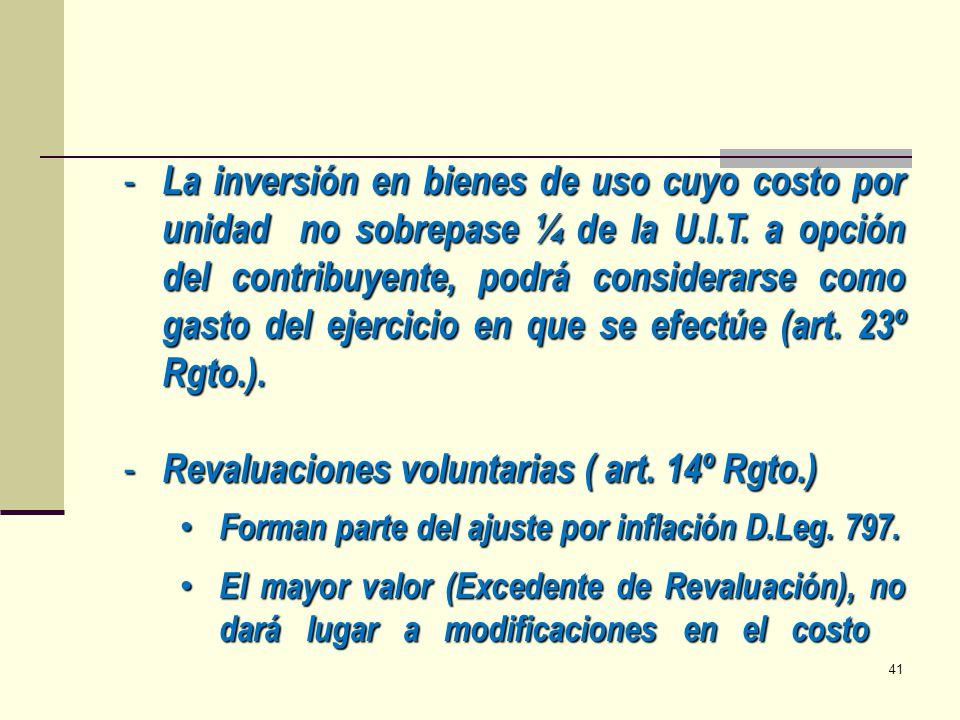 Revaluaciones voluntarias ( art. 14º Rgto.)