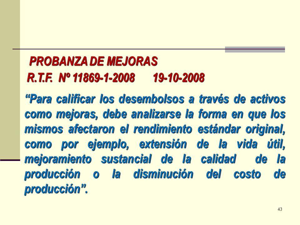 PROBANZA DE MEJORAS R.T.F. Nº 11869-1-2008 19-10-2008.