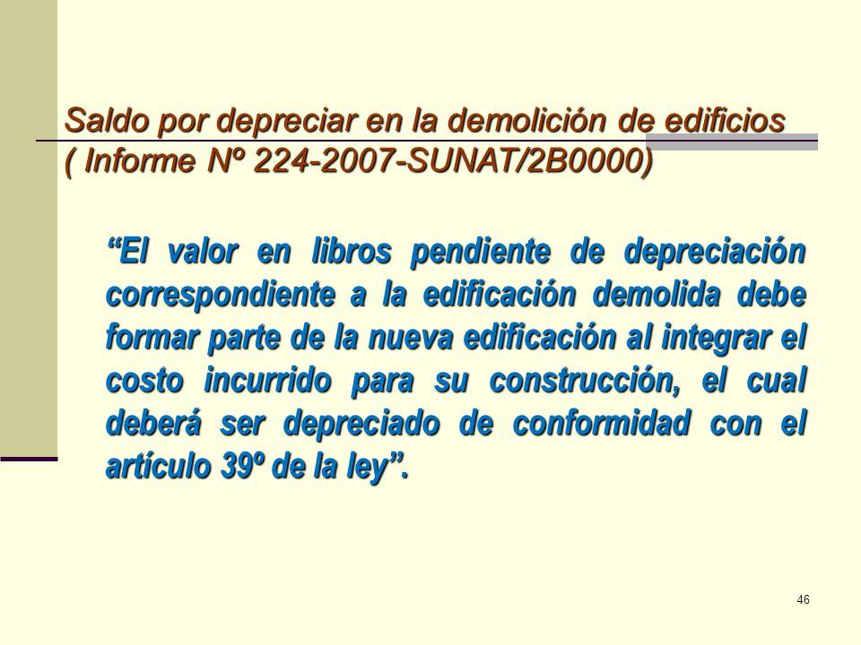 Saldo por depreciar en la demolición de edificios ( Informe Nº 224-2007-SUNAT/2B0000)