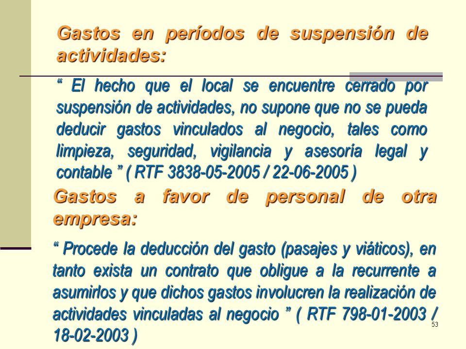 Gastos en períodos de suspensión de actividades:
