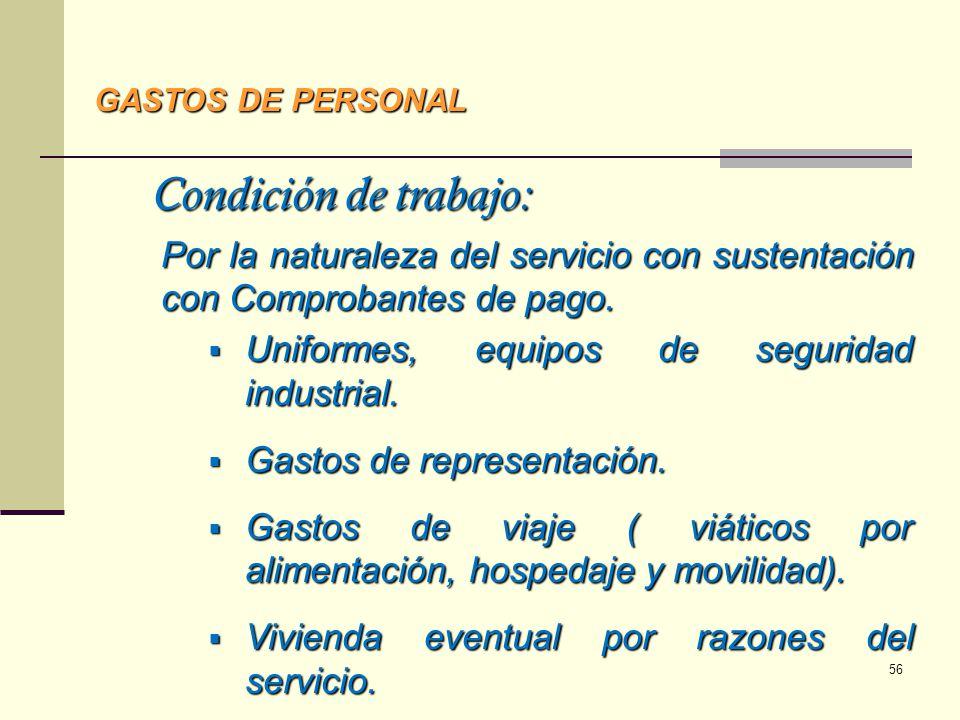 GASTOS DE PERSONAL Condición de trabajo: Por la naturaleza del servicio con sustentación con Comprobantes de pago.