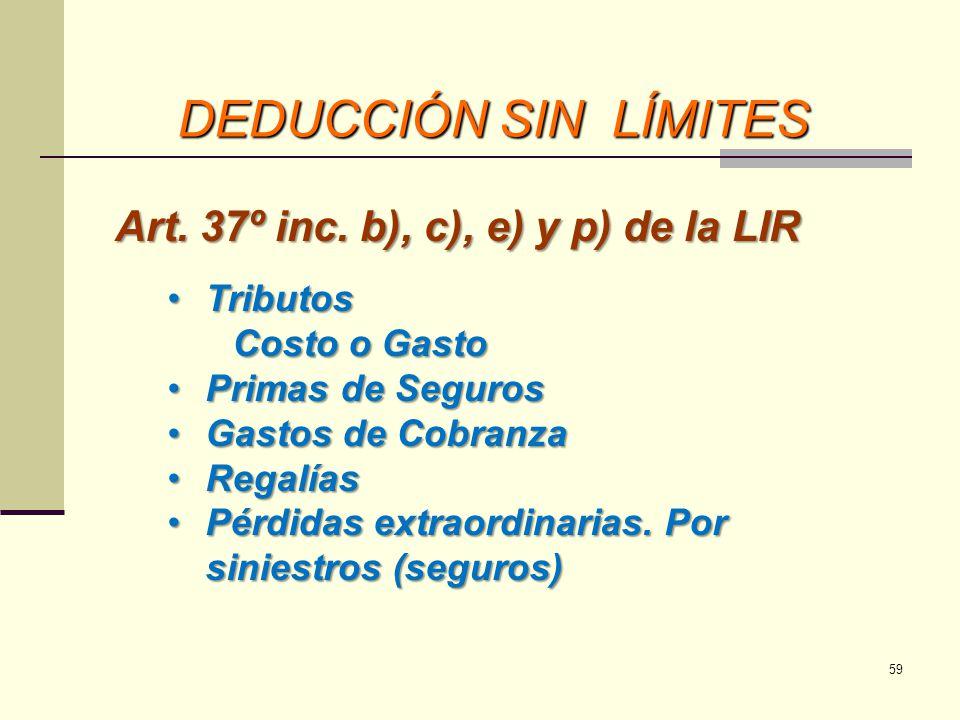 DEDUCCIÓN SIN LÍMITES Art. 37º inc. b), c), e) y p) de la LIR Tributos