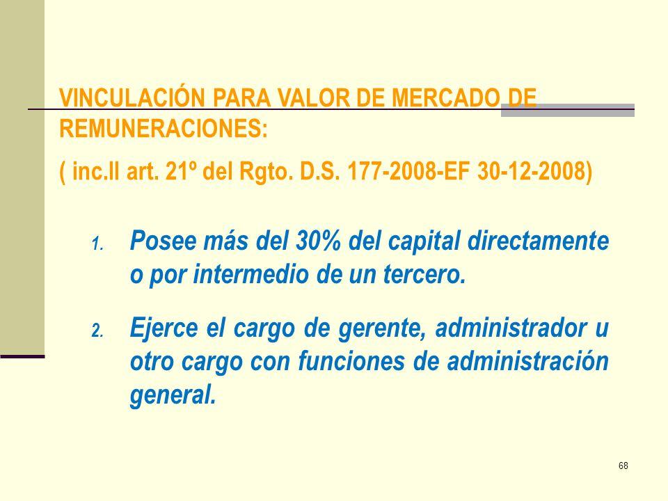 VINCULACIÓN PARA VALOR DE MERCADO DE REMUNERACIONES: ( inc. ll art