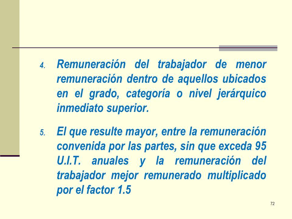Remuneración del trabajador de menor remuneración dentro de aquellos ubicados en el grado, categoría o nivel jerárquico inmediato superior.