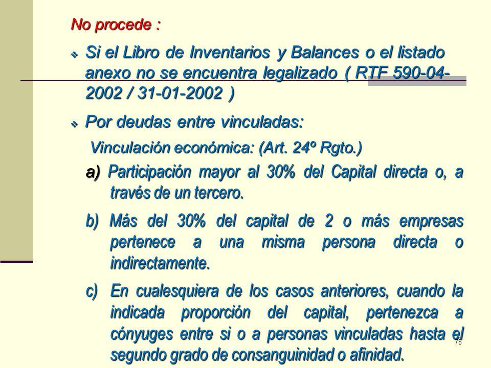 No procede : Si el Libro de Inventarios y Balances o el listado anexo no se encuentra legalizado ( RTF 590-04-2002 / 31-01-2002 )