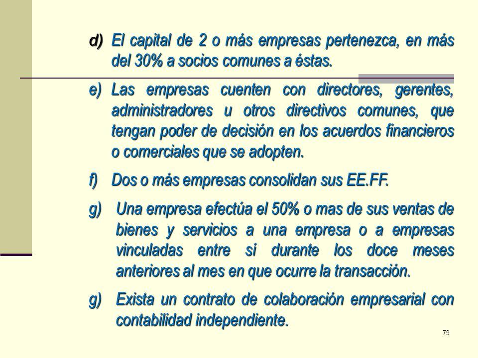 f) Dos o más empresas consolidan sus EE.FF.