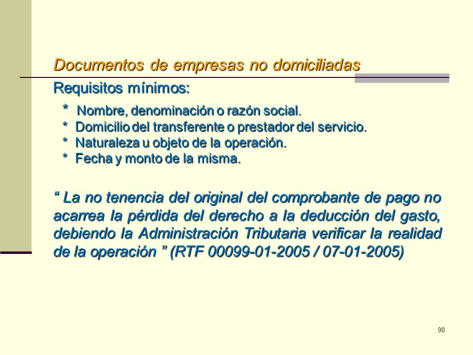 Documentos de empresas no domiciliadas